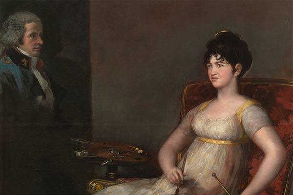 1. La XII marquesa de Villafranca pintando a su marido. 1804. Francisco de Goya y Lucientes. Óleo sobre lienzo. 126 x 195 cm. Museo Nacional del Prado